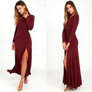 Lulu's swept away burgundy maxi dress medium